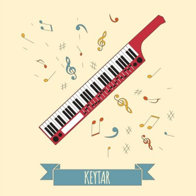 Plakat Instrumenty muzyczne szablonu graficznego. Keytar.