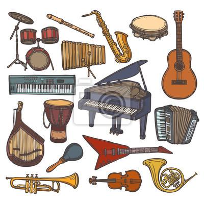 Instrumenty Muzyczne Szkic Ikona Plakaty Na ścianę Plakaty Tuba