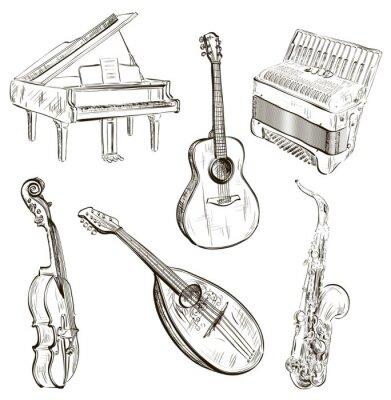 Instrumenty Muzyczne W Stylu Szkicu Plakaty Na ścianę Plakaty