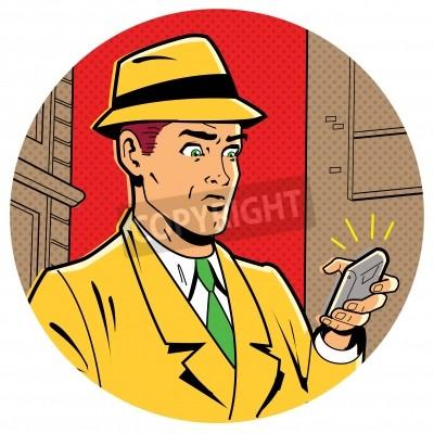 Plakat Ironiczny satyryczny Ilustracja Retro Klasyczne Comics mężczyzna z Fedory i nowoczesny smartfon