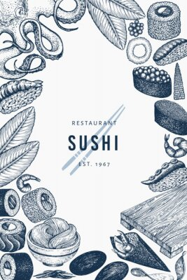 Plakat Japanese cuisine banner template. Sushi hand drawn vector illustrations. Retro style asian food background.