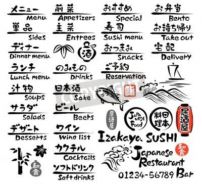 Plakat Japanese food MENU, in English and Japanese