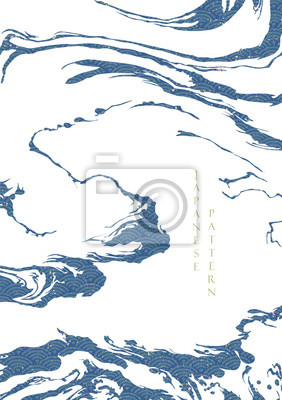 Plakat Japanese wave pattern with abstract shape vector. Blue ocean background with grunge texture. Wave hand drawn elements.