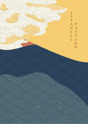Plakat Japanese wave template with Geometric pattern vector.