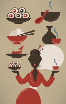 Plakat Japoński menu, wektor żywności kolekcja w stylu płaskiej