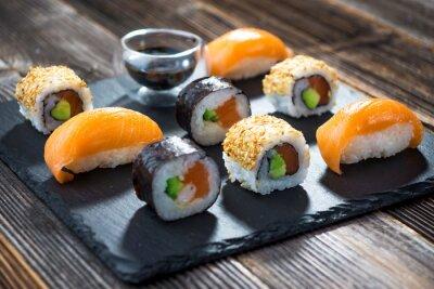 Plakat Japońskie sushi owoce morza