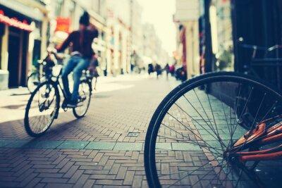 Plakat Jazda na rowerze w Amsterdamie w Sunset