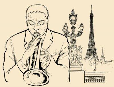 Plakat jazzowy trębacz na Alexander Most w Paryżu (pióro rysunek tuszem)
