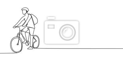 Plakat Jeden rysunek linii rowerzysty, mężczyzny jadącego na rowerze z kaskiem i torbą, może chce iść do szkoły lub na kampus. Ilustracja wektorowa