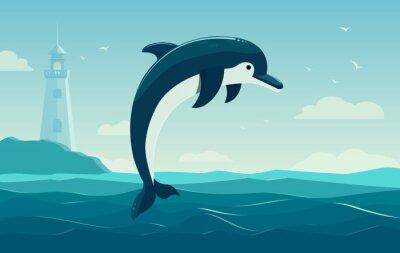 Plakat Jeden skoki Delfin, błękitne morze w tle z falami i latarni. Ilustracja wektorowa