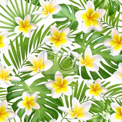 Plakat Jednolite egzotyczne wzór tropikalnych liści i kwiatów na tle beżowym tle. Ilustracji wektorowych.