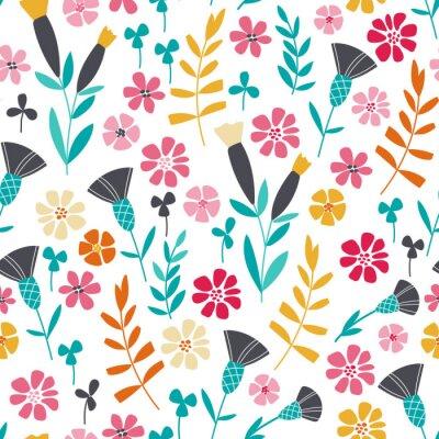 Plakat Jednolite kwiatowy wzór skandynawskich jasne