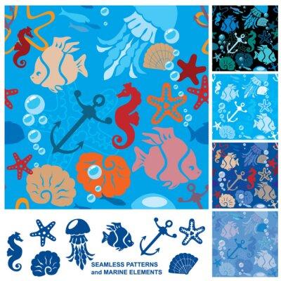 Plakat Jednolite tło z życia morskiego