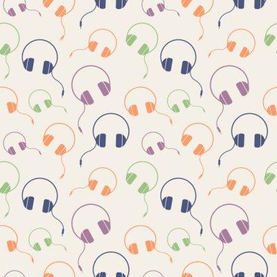 Plakat Jednolite wektor wzorca muzyki, chaotyczne tło z kolorowymi słuchawkami, na jasnym tle