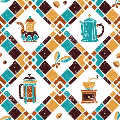 Plakat Jednolite wzór Argyle i ekspresy do kawy