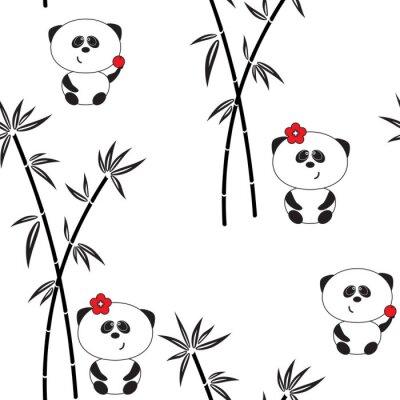 Plakat Jednolite wzór, ilustracji wektorowych, śmieszne panda