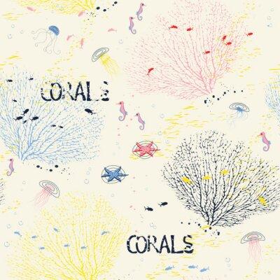 Plakat Jednolite wzór z korali wentylatorów, meduzy, koniki morskie i ryb sylwetki