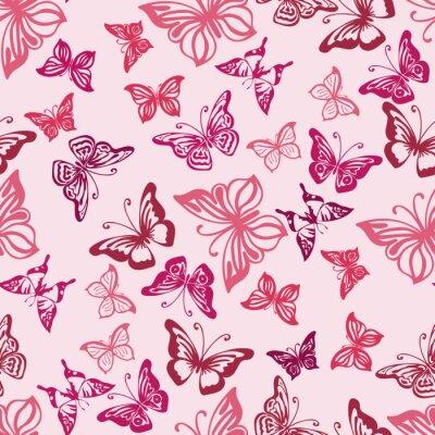 Plakat Jednolite wzór z sylwetką motyli