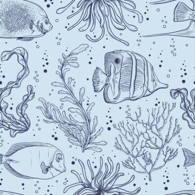 Plakat Jednolite wzór z tropikalnych ryb, roślin morskich i wodorostów. Vintage ręcznie rysowane ilustracji wektorowych życie morskie. Projektowanie na plaży latem, dekoracje, drukowanie, wzór wypełnienia, t