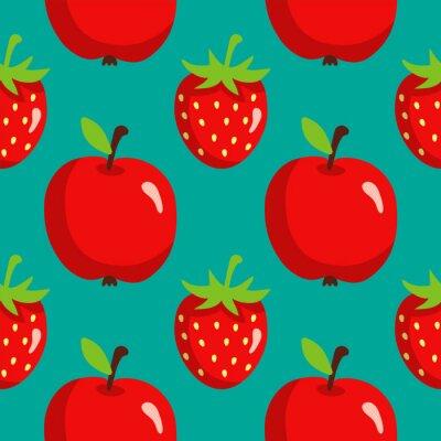 Plakat Jednolite wzór z truskawek i jabłek