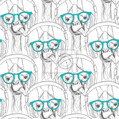 Jednolite wzór z żyrafy w okularach i ze słuchawkami. ilustracji wektorowych.