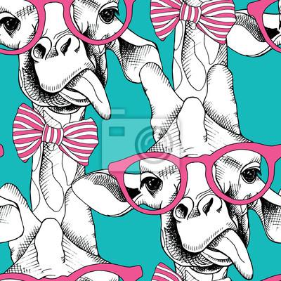 Jednolite wzór z żyrafy w okularach iz łuku. ilustracji wektorowych.