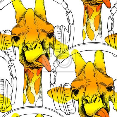 Jednolite wzór z żyrafy w słuchawkach. ilustracji wektorowych.
