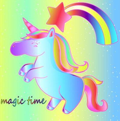 Plakat Jednorożec i tęcza na jasnym neonowym tle to magiczny czas. Jasny dziecięcy baśniowy plakat