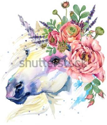 Plakat jednorożec. ilustracja bukiet kwiatów akwarela. tło fantasy. biały koń.