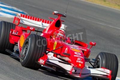 Plakat Jerez de la Frontera, Hiszpania - 11 października: Michael Schumacher Scuderia Ferrari F1 w dniu 11 października 2006 r sesji szkoleniowej w Jerez de la Frontera, Hiszpania