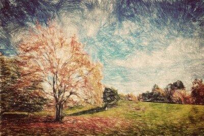 Plakat Jesień park. Zielone wzgórza w czerwonych liści. Sztuka w stylu vintage