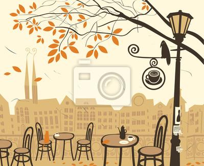 Jesienią krajobraz z kawiarni ulicy
