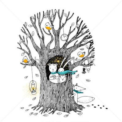 Plakat Jesienne drzewo, niedźwiedź, zając, jeż, lis i ptaki. Ręcznie sformułowane ilustracje na białym tle.