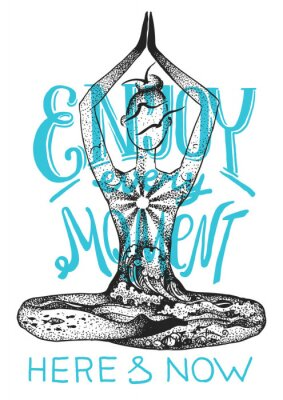 Plakat Joga stanowi medytację. Graficzna wektorowa ręka rysująca ilustracja