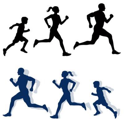 Plakat jogging rodzina sylwetki