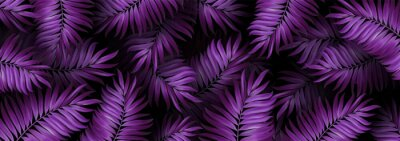 Plakat Jungle Purple Colored Background. Tropic Plants. Tropical Neon Palm Leaves Seamless Pattern. Summer Exotic Botanical Foliage Design. Wallpaper Vector.