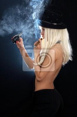 Plakat kabaret dziewczyna z cygara i granat