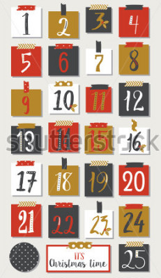 Plakat Kalendarz adwentowy. Plakat świąteczny.