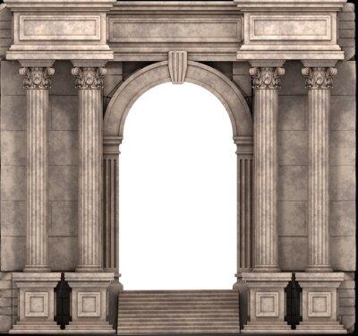 Plakat Kamienne Schodki i sposób Wejście Z kolumn korynckich. Renderowania 3D.