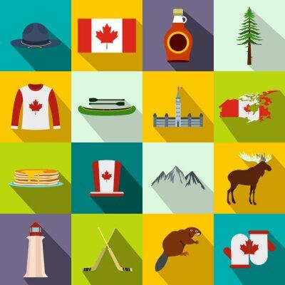 Plakat Kanada ikony płaskim