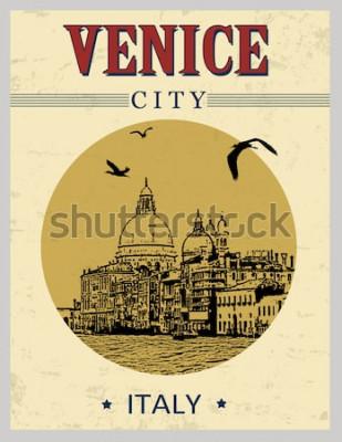 Plakat Kanał Grande i bazyliki Santa Maria della Salute, Wenecja, Włochy w stylu vintage plakatu, ilustracji wektorowych