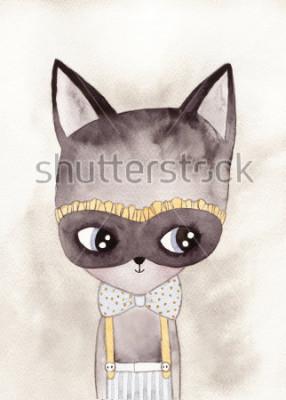 Plakat karnawał kot akwarela rysunek