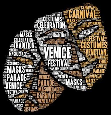 Plakat Karnawał w Wenecji we Włoszech chmura wyrazu