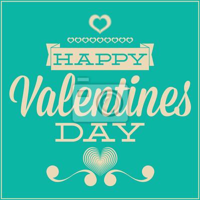 Plakat Kartkę z życzeniami na Walentynki. Niebieskie tło