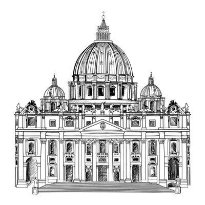 Plakat Katedra Świętego Piotra, Rzym, Włochy. Architektura Watykan.