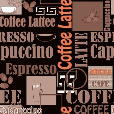 Plakat Kawa liternictwo i ikony bez szwu wzór retro tle