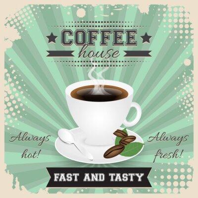Plakat Kawiarnia grunge design plakat z mocą półtonów. Filiżanka kawy, łyżka, ziaren kawy, płyta, liście i parowej.