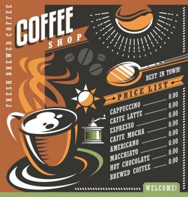 Plakat Kawiarnia menu szablon kreacji