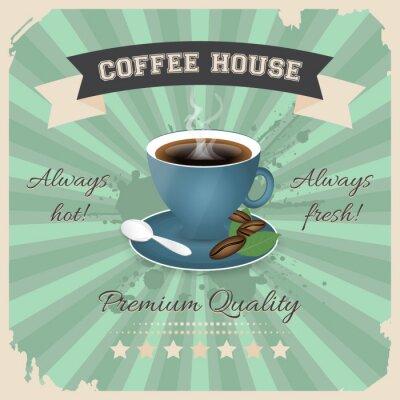 Plakat Kawiarnia projekt plakatu z filiżanką kawy w stylu retro.