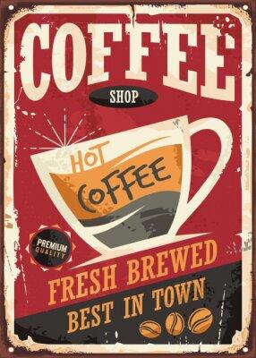 Plakat Kawiarnia retro cyny wzór znak z filiżanką kawy na czerwonym tle